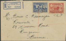 Australia SG 150 ACSC 157 1934 2d Captain John Macarthur, light hills & 3d South Australia on cover